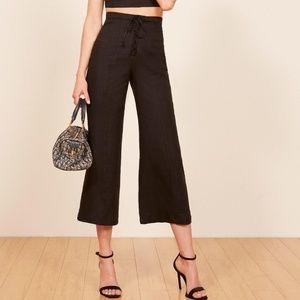Sz 6 Reformation lace front Black 100% linen pant